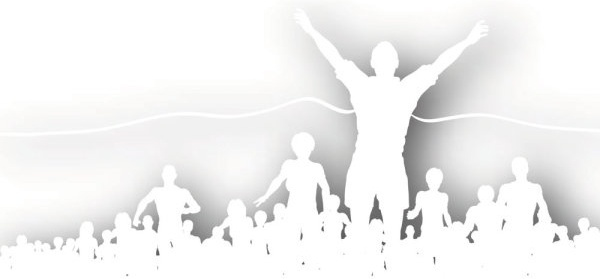 crowd cheering silhouette vector