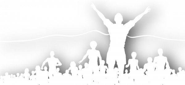 crowd cheering silhouettes vector