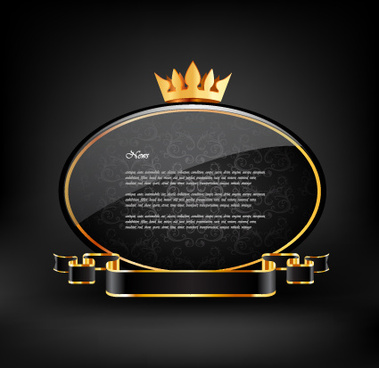 crown glass label with ribbon vector