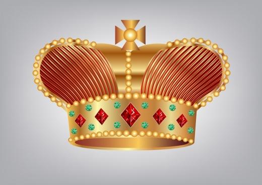 crown icons gems decoration shiny golden design