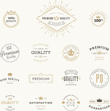 crowns labels retro style vector