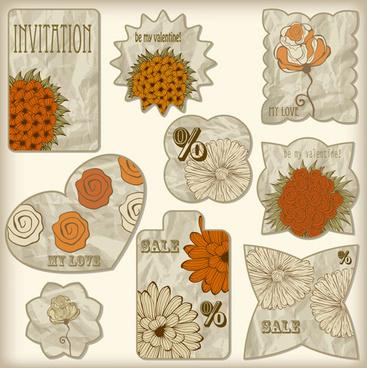 crumpled paper floral labels vector