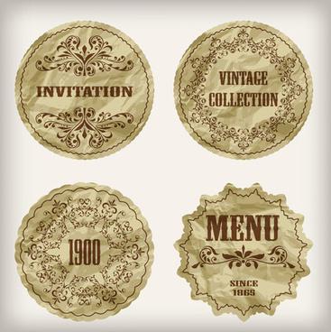 crumpled paper vintage labels vector