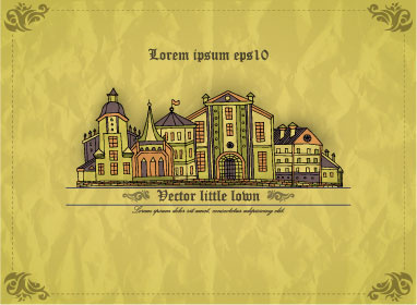crumpled paper with vintage house vector