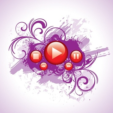 music background violet grunge shiny red button decor