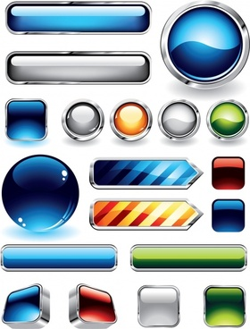 button templates modern shiny colored shapes