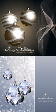 crystal christmas ball and lob vector