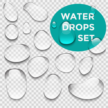 crystal clear water drops vector illustration