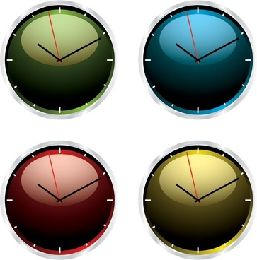 round clocks icons collection shiny flat colored design