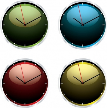 clock templates shiny colored circle design