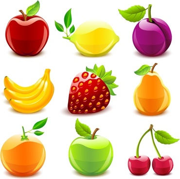 fruits icons shiny colored modern sketch