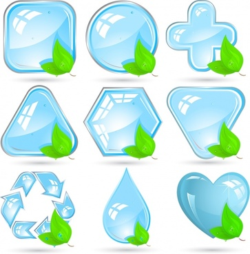 ecology signs collection shiny crystal leaf icons decor