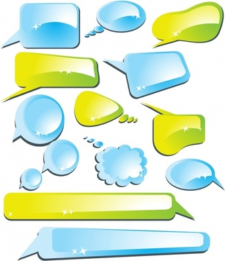 communication bubbles templates modern shiny colored shapes