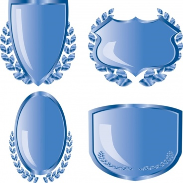 decorative shields templates shiny modern design symmetric decor
