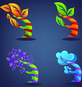 crystal texture leaf logo vector