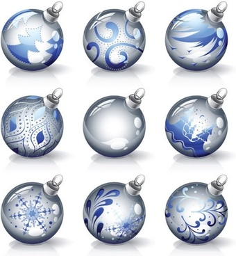 christmas balls icons shiny modern spherical design