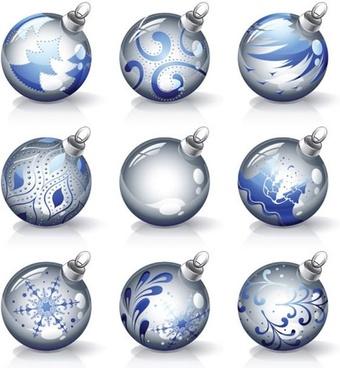 christmas balls icons shiny modern spherical design