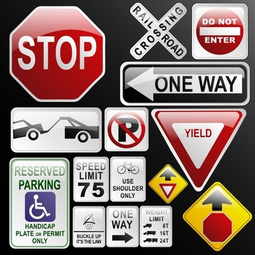 traffic signs templates modern colored flat shapes