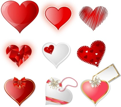 valentines design elements modern decorated hearts sketch