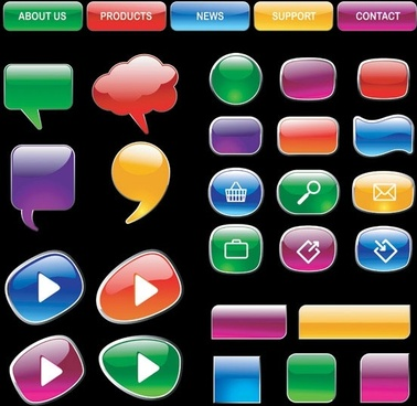 crystalstyle web buttons vector 3