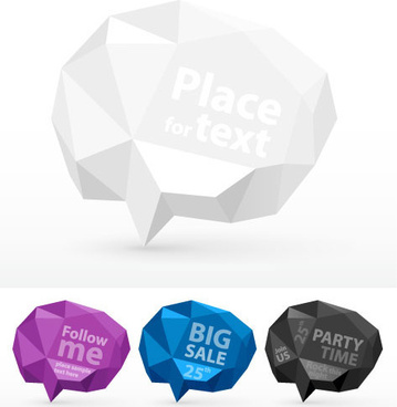cube origami speech bubbles vector