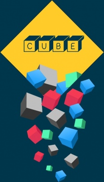 cubes icons background colorful 3d design