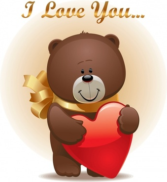 love card background cute teddy bear heart decor