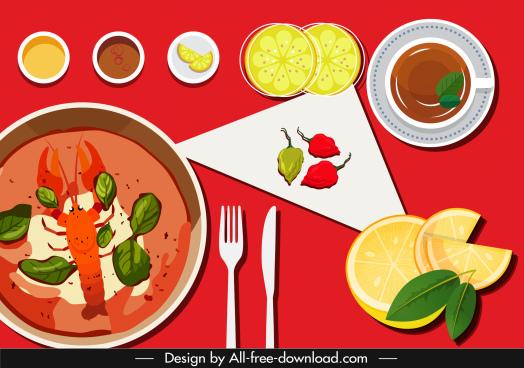 cuisine background colorful flat classic sketch
