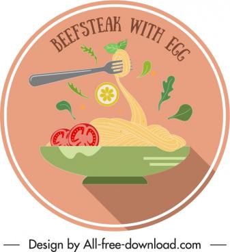 cuisine label template noodle dishware sketch colorful classic