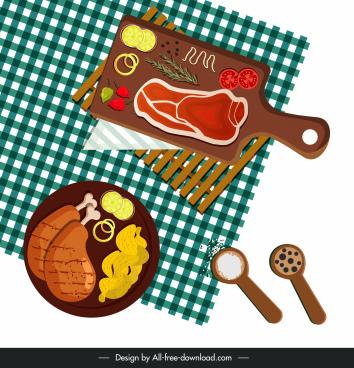 cuisines background food preparation ingredients sketch colorful flat