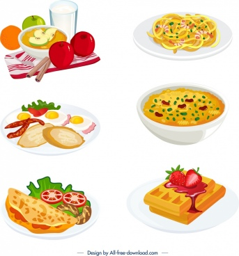 cuisines icons colorful 3d design