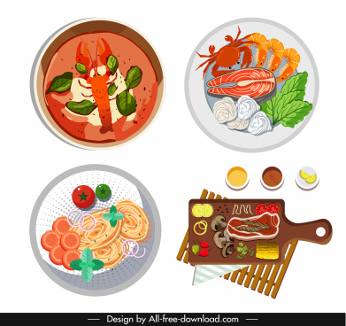 cuisines icons colorful flat sketch