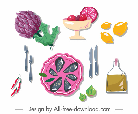 culinary art design elements flat classic handdrawn symbols