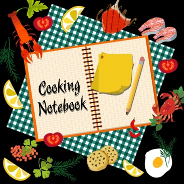 culinary background food notebook pencil icons decor