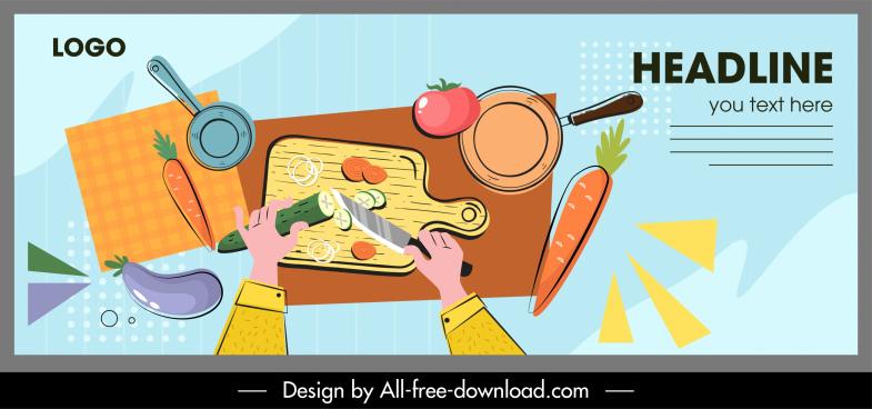 culinary work banner dynamic flat handdrawn sketch