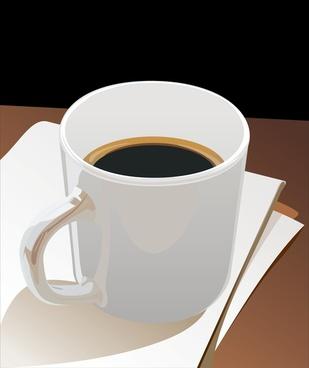 cup black coffee vector