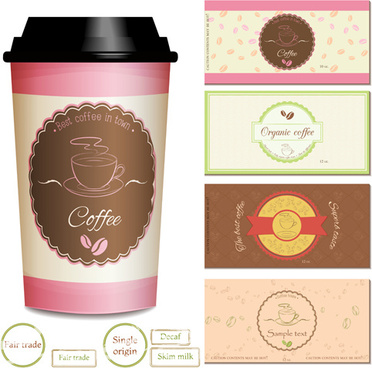 cup coffee with cards vector
