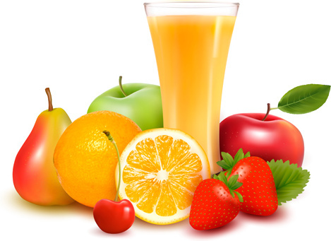 cup drink with fruits vector