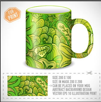 cup print abstract pattern vector