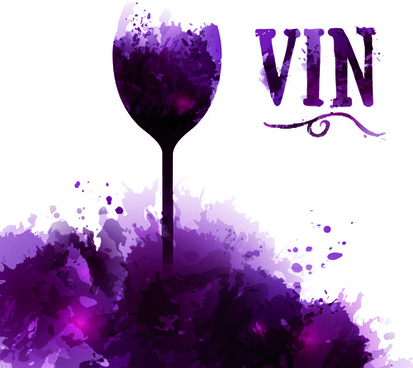 cup wine watercolor background vector