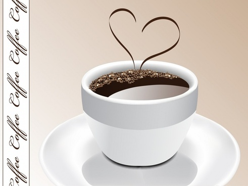 coffee advertising cup heart icon 3d realistic design