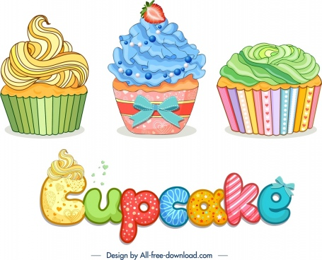 cupcake advertising banner colorful elegant decor