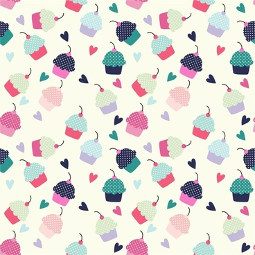 cupcake candy hearts sweet food cake cherry patterns