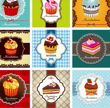 cupcake card vector set