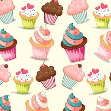 cupcake cute vector seamless pattern