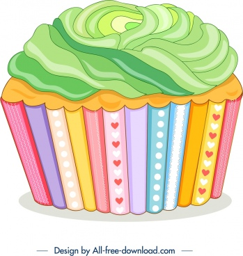cupcake icon colorful modern 3d design