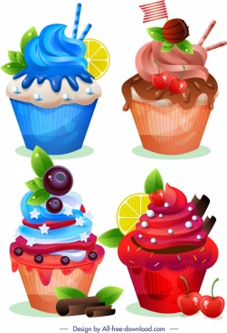 cupcake icons colorful modern decor