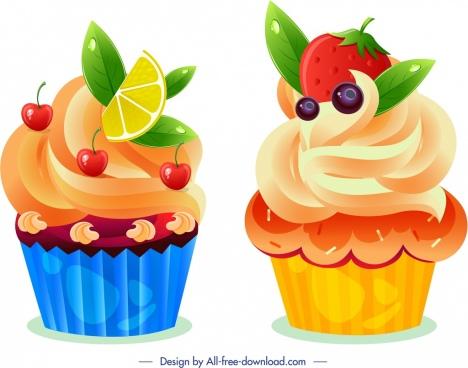cupcake icons fresh fruits decor modern design