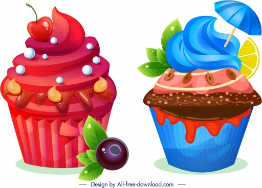 cupcake icons red blue chocolate fruit decor