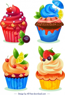 cupcake icons templates colorful fruits chocolate decor
